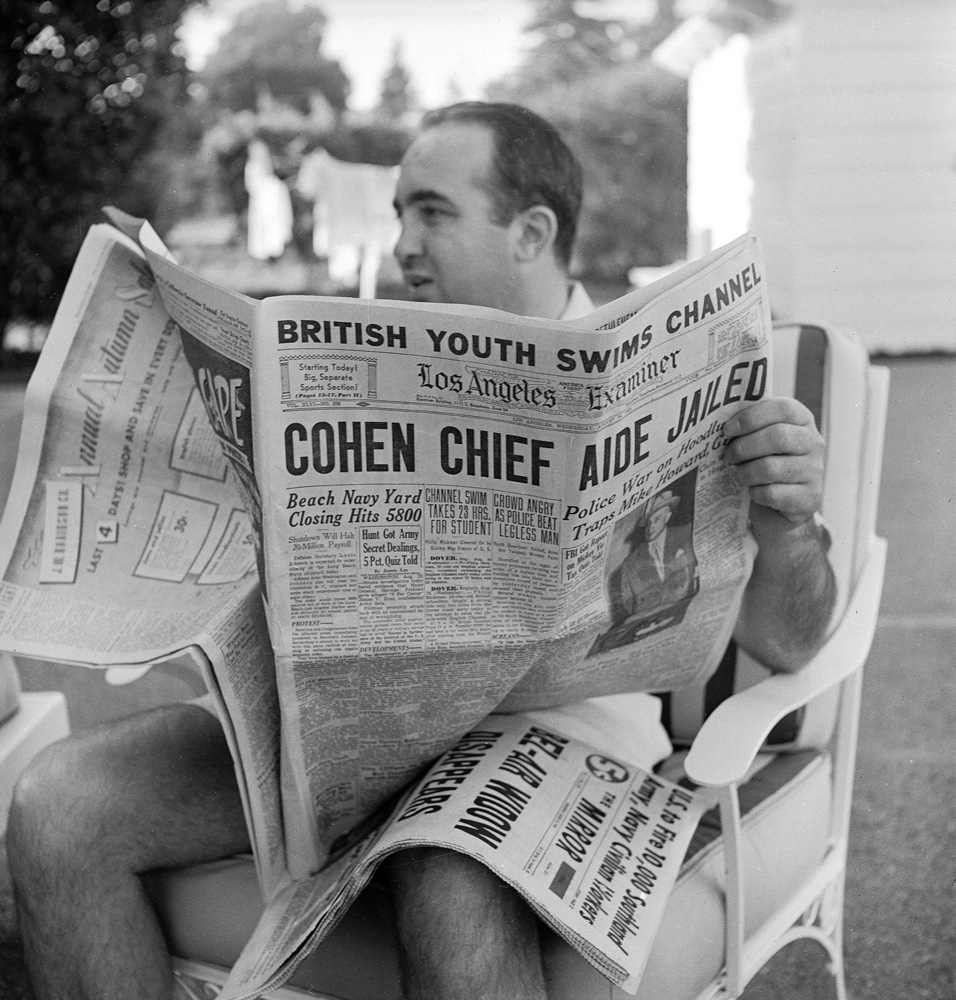 Mickey Cohen at home, 1949.
