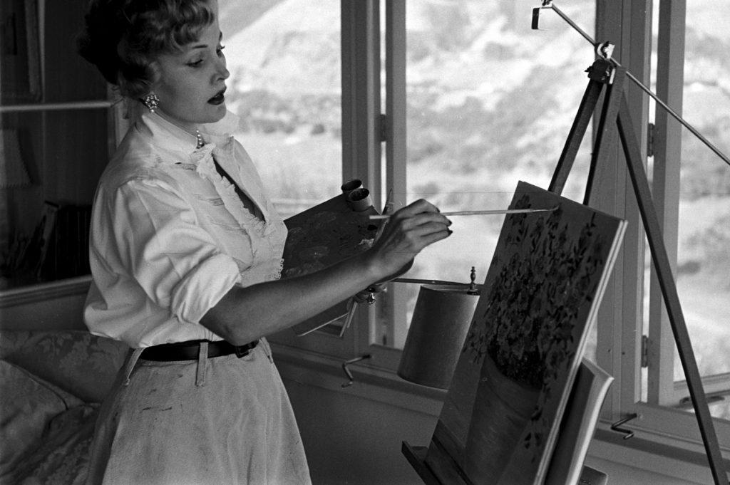 Zsa Zsa Gabor painting, California, 1951.
