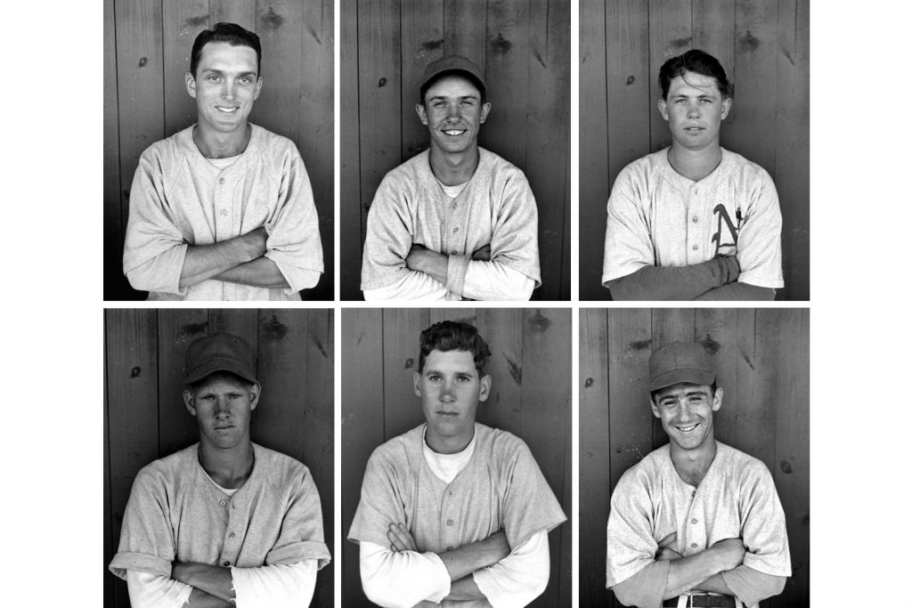 Top row, l-r: Pitchers Carl Erskine, Carroll Beringer, Edward Yasinski; bottom row, infielder Russ Rose, outfielder Bill Wolfe, outfielder Bernie Zender.