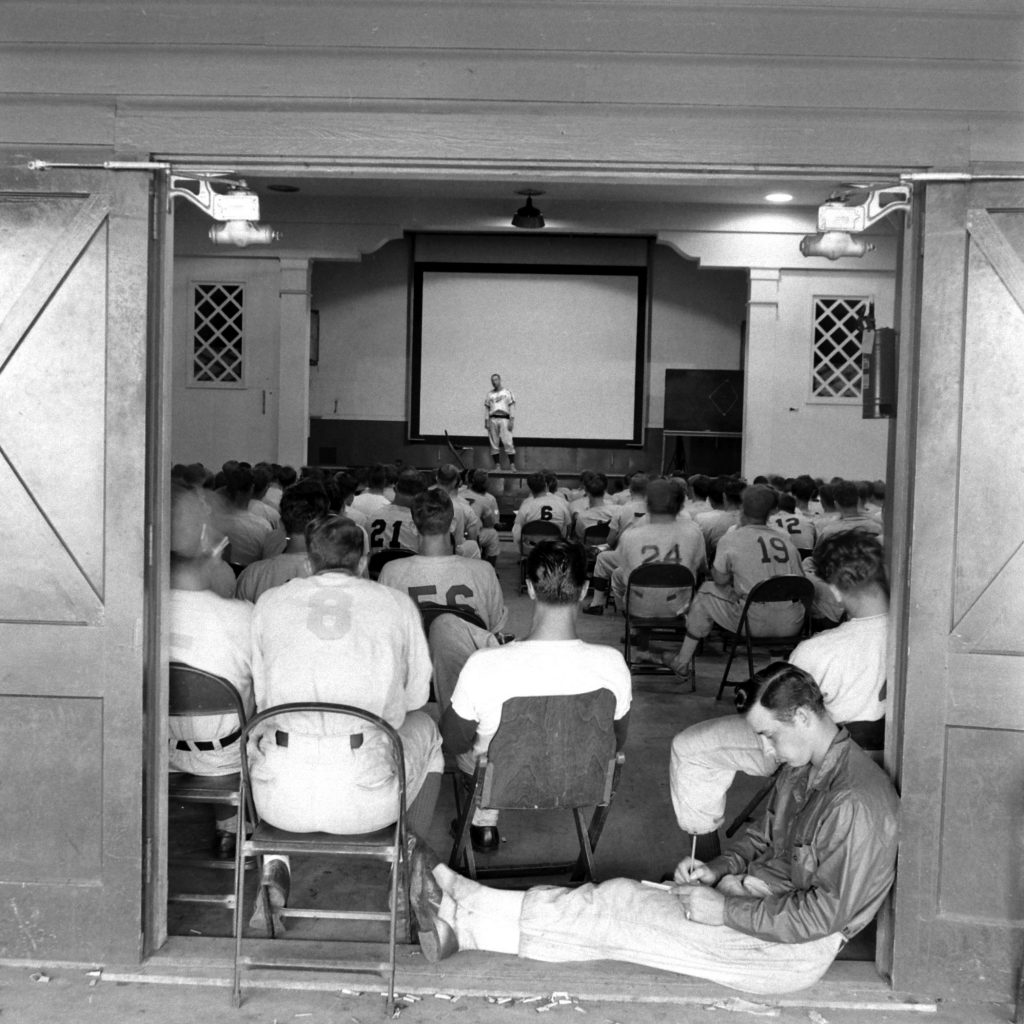 Dodgers players and coaches attend an instructional talk, Vero Beach, Fla., 1948.