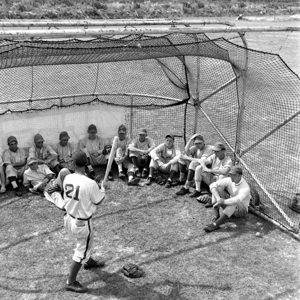 Dodgers rookies and prospects listen to a hitting instructor, Vero Beach, Fla., 1948.