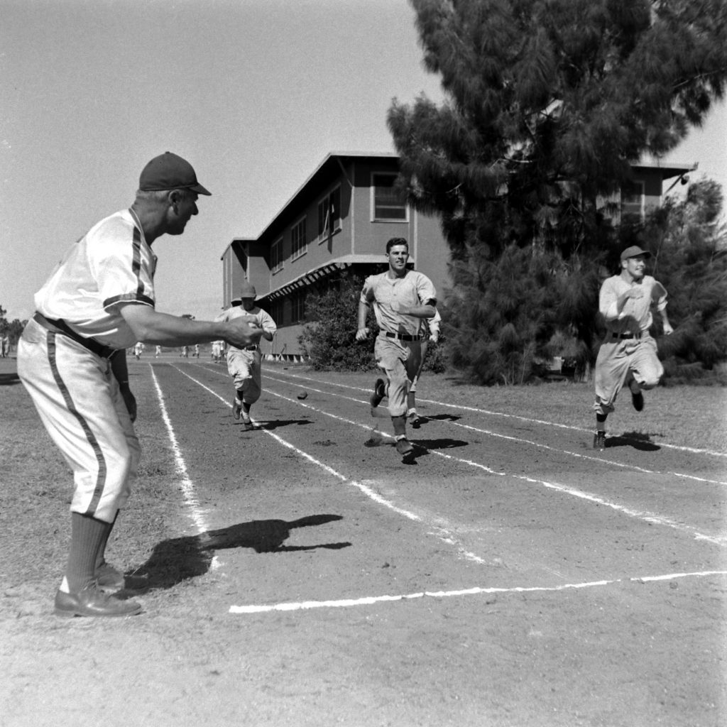 Timing Dodgers players' speed, Vero Beach, Fla., 1948.