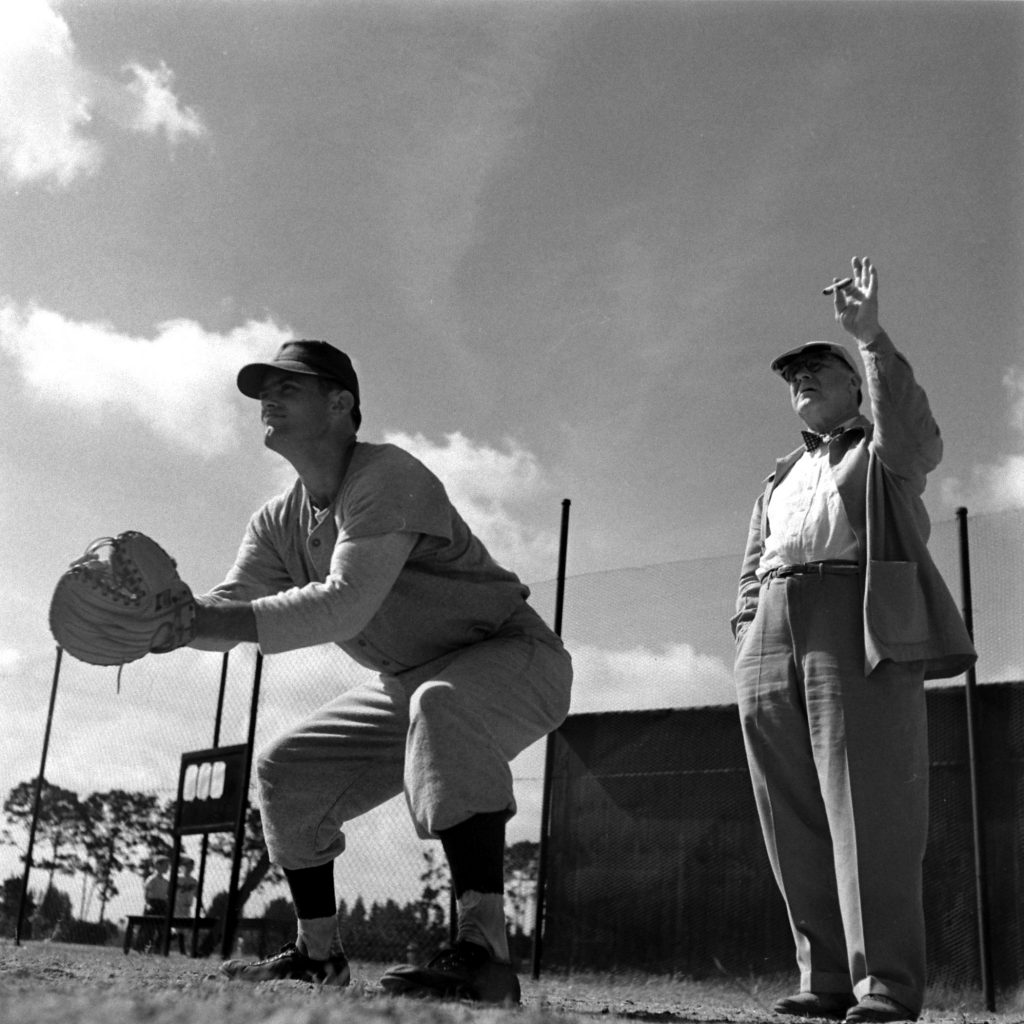 Branch Rickey and catcher, Vero Beach, Fla., 1948.