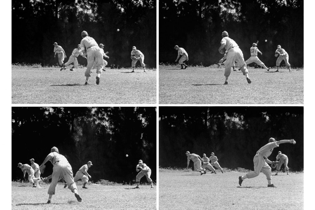 Practicing base-running and pick-off attempts at Dodgertown, Vero Beach, Fla., 1948.