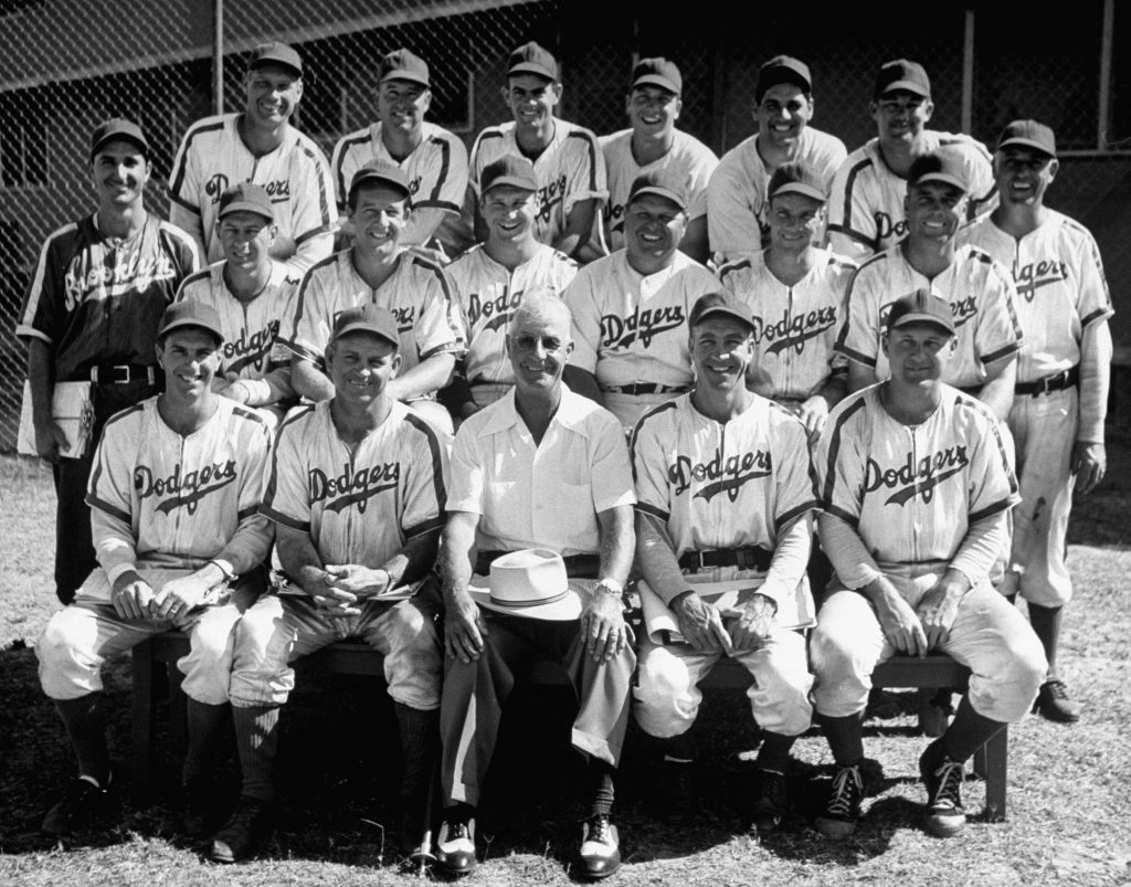 Brooklyn coaches pose for a group portrait during spring training at Dodgertown, Vero Beach, Fla., 1948.