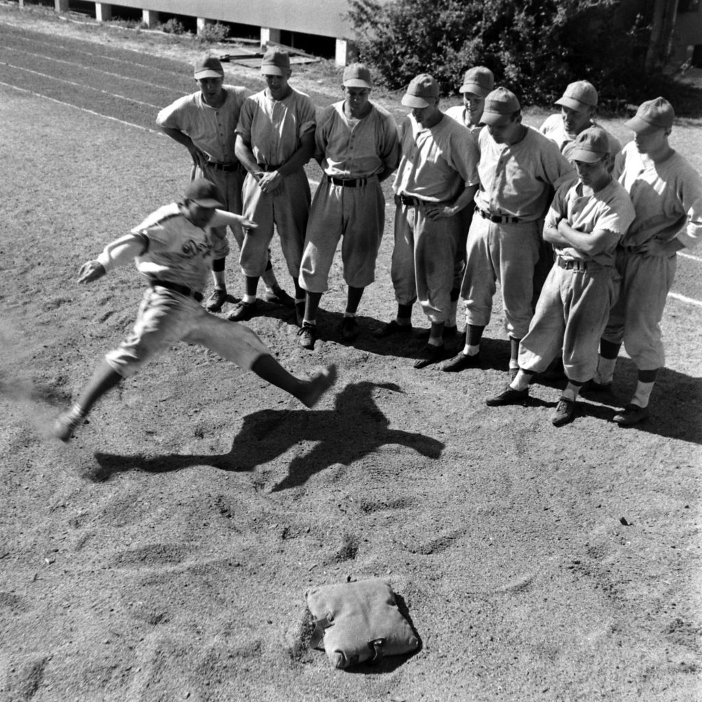 Brooklyn rookies and prospects practice hook slides, Vero Beach, Fla., 1948.