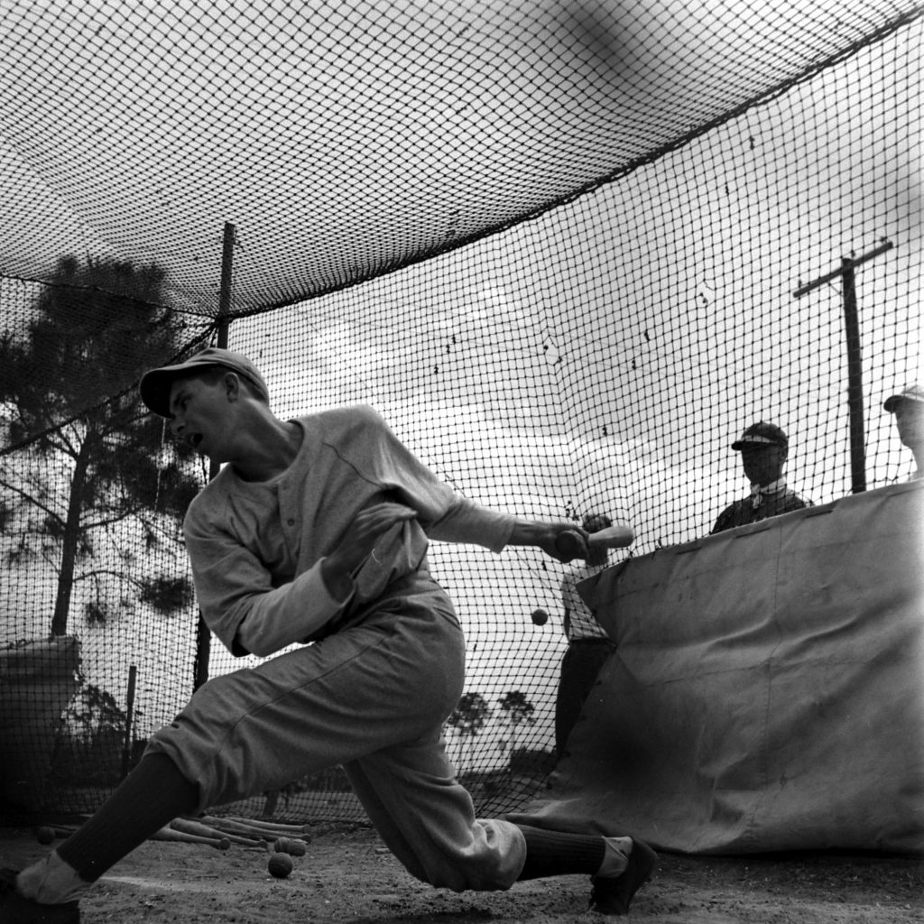Batting practice during spring training, Vero Beach, Fla., 1948.