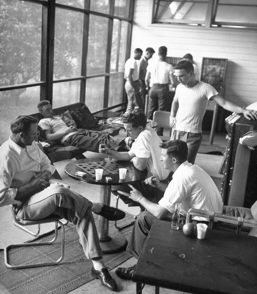 Players relaxing during spring training at Dodgertown, Vero Beach, Fla., 1948.
