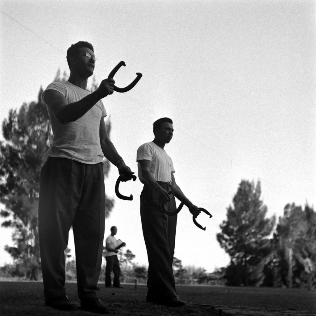 Players play horseshoes during spring training at Dodgertown, Vero Beach, Fla., 1948.