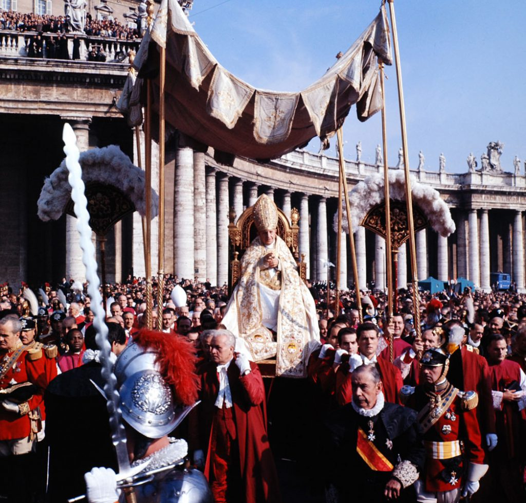 Pope John XXIII rides in the procession to St. Peter's Basilica at start of the Second Vatican Ecumenical Council, 1962.