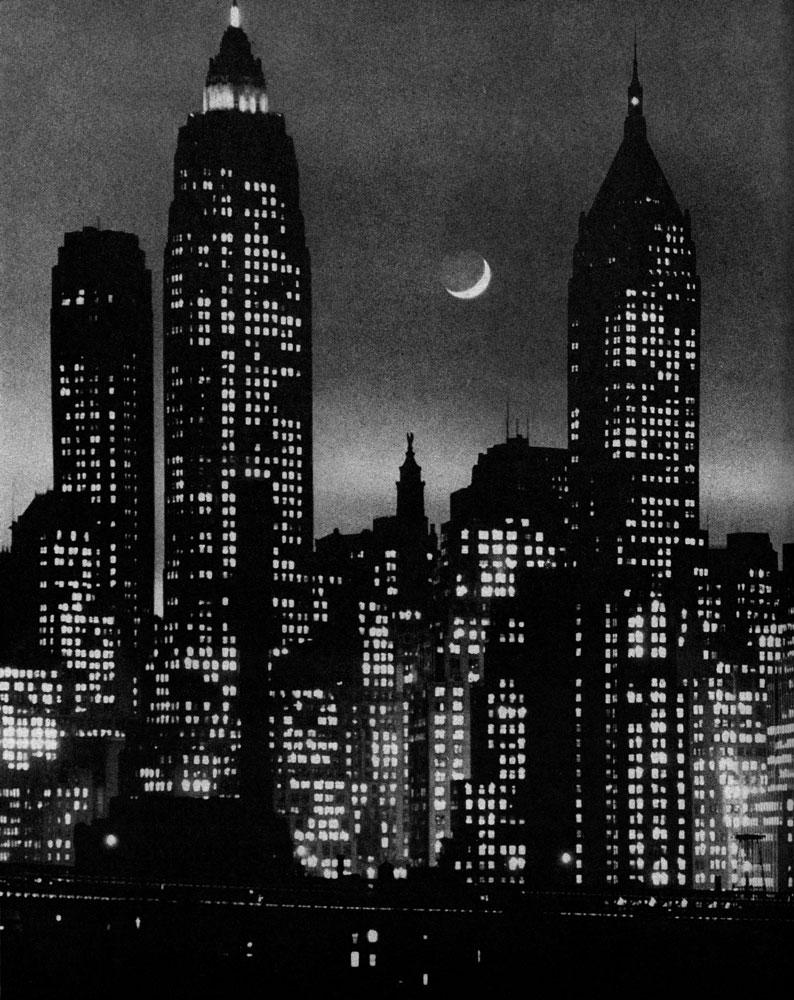 A crescent moon rose between Manhattan skyscrapers, 1946.