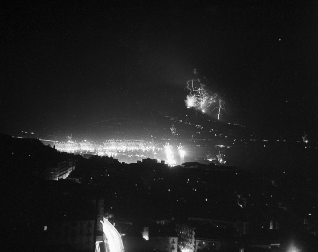 Nighttime eruption of Mt. Vesuvius, 1944.