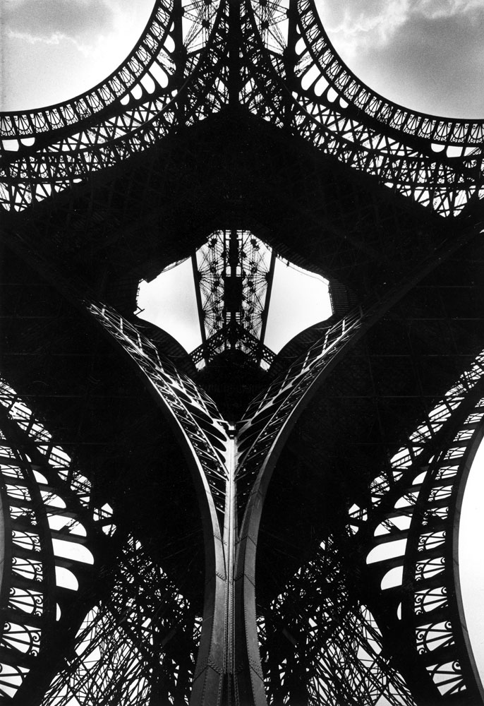 Low angle of the Eiffel Tower, 1963.