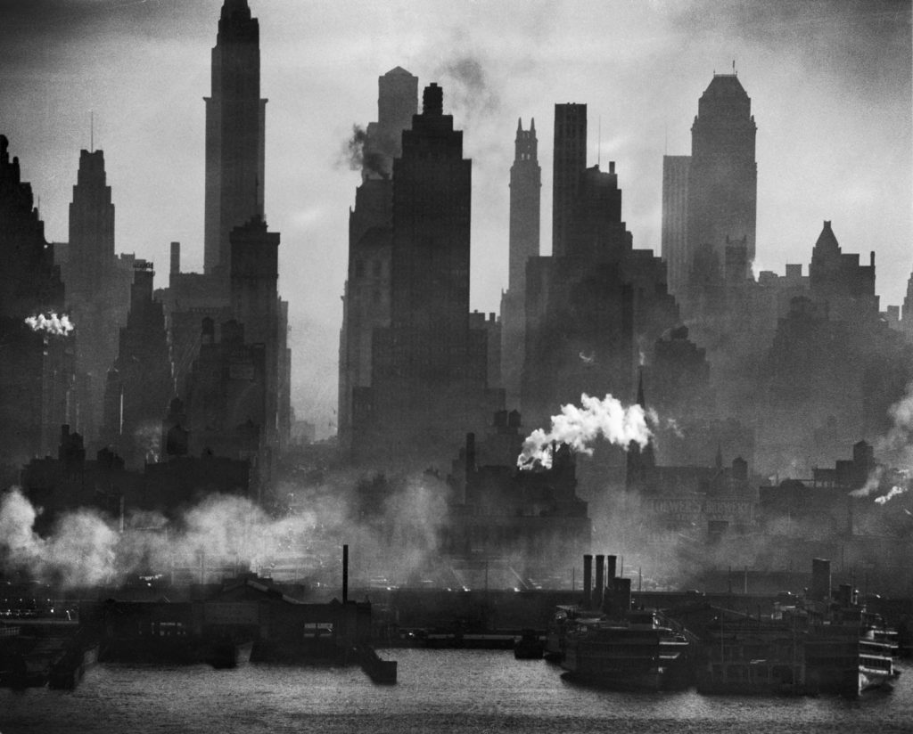 New York Harbor and midtown, looking straight down bustling 42nd Street, taken with the aid of a 40-inch Dallmeyer telephoto lens two miles away, from New Jersey, 1946.
