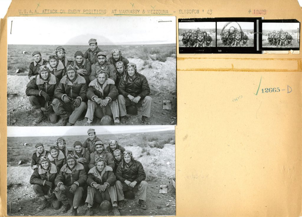 Photographs and clipped contact-sheet images (uncharacteristically glued to paper) from Tunisia, the North African Campaign, 1943, from the LIFE archives.