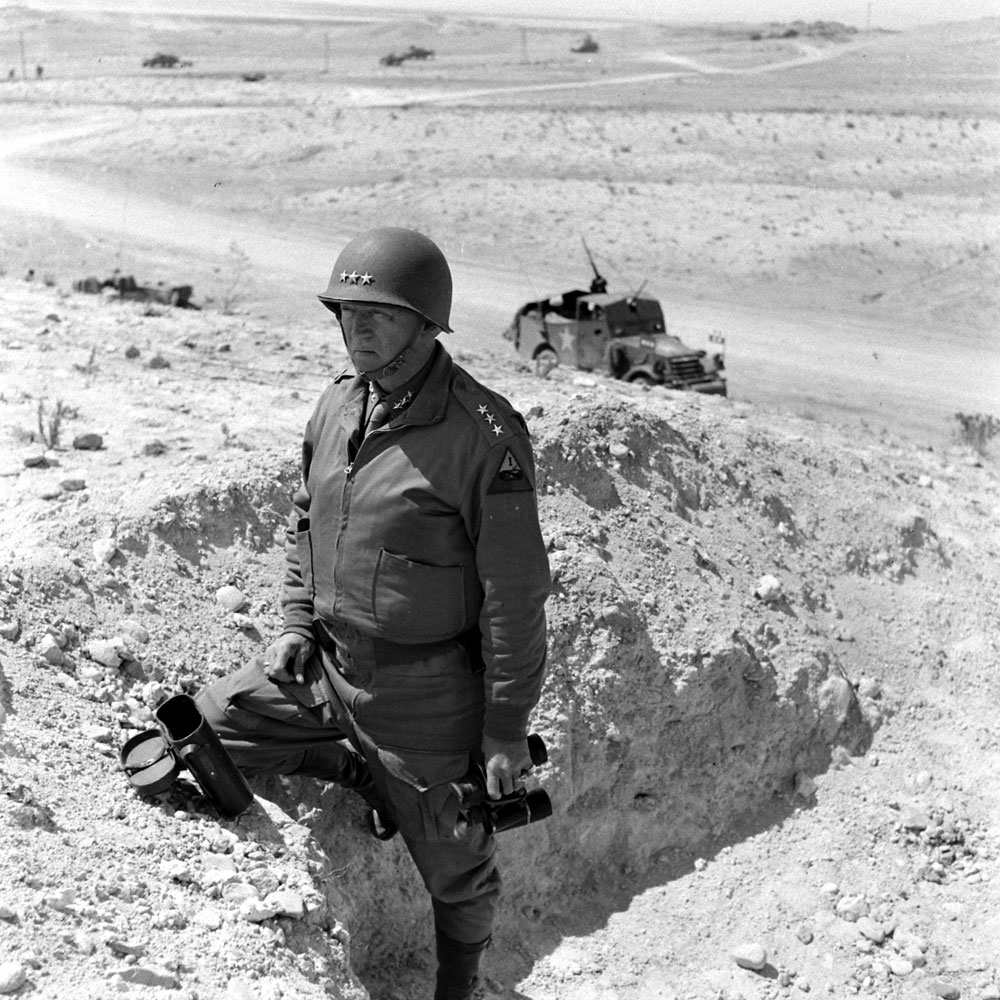 American Lt. Gen. (later General) George S. Patton in North Africa during WWII, 1943.