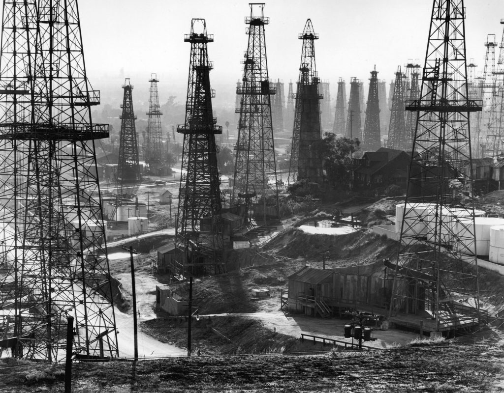 A forest of wells, rigs and derricks crowd the Signal Hill oil fields in Long Beach, Calif., 1944.
