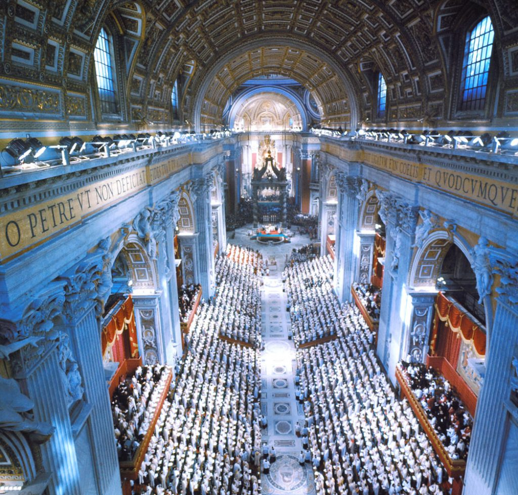 Scene inside St. Peter's Basilica during the Second Vatican Ecumenical Council, 1962.