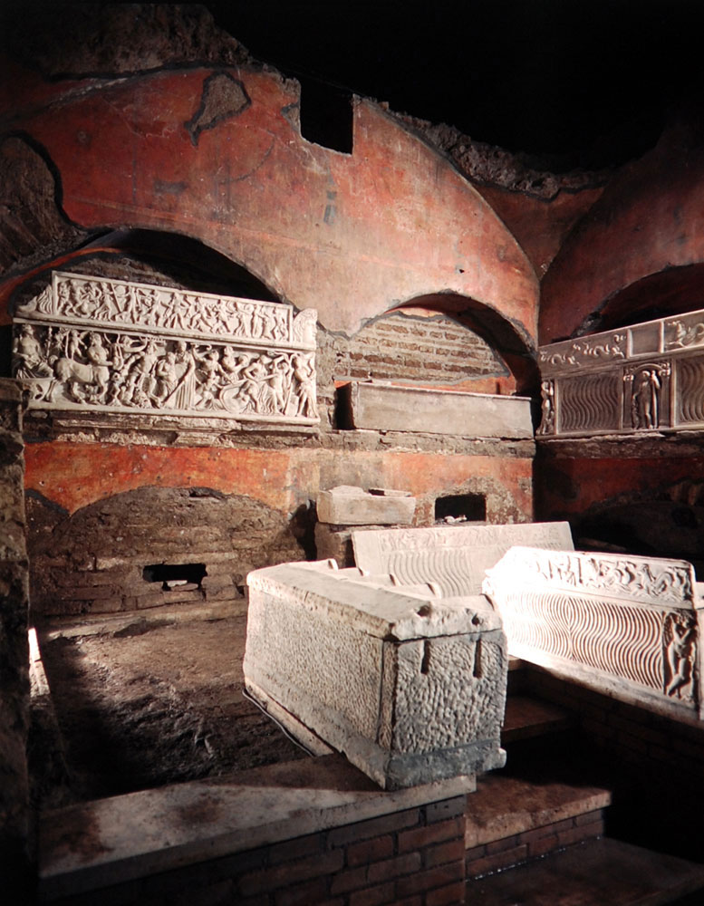 Tomb of the Egizio featuring elaborate sarcophagi sculpted with scenes of Bacchic rites. While most of the findings here were purely pagan, there were also Christian designs -- for example, of a palm leaf and a dove.