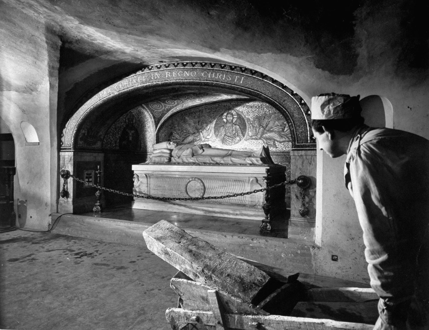 Pope Pius XI, whose desire to be buried below St. Peter's nave led to the historic excavations, lies in his stone sarcophagus in renovated upper grottoes.