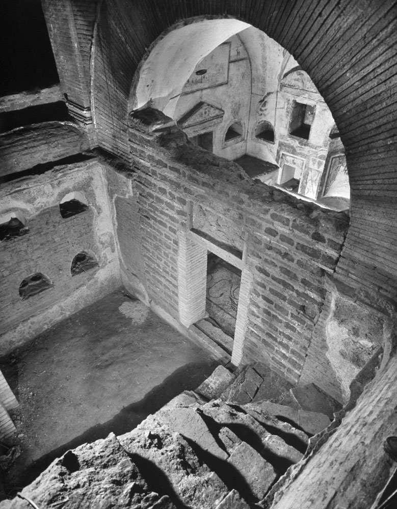 The oldest burial chamber found during the excavation beneath St. Peter's in Rome, 1950.