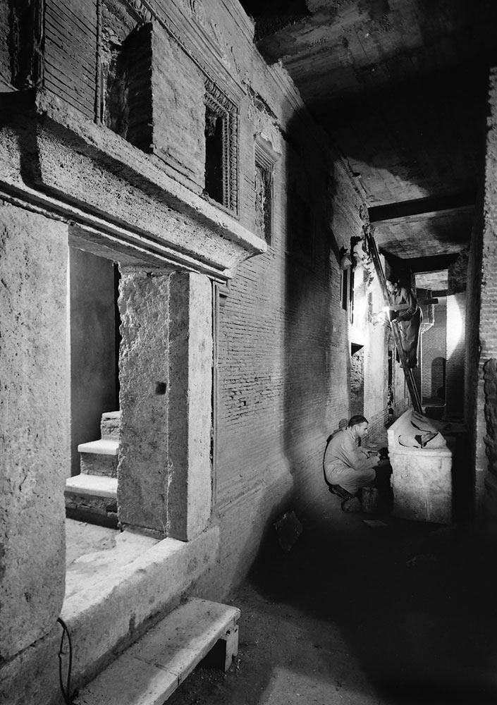 A double row of burial chambers beneath St. Peter's, 1950.