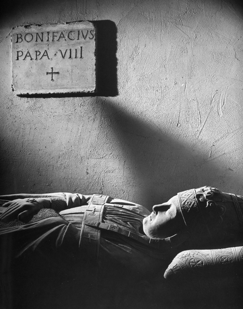 The tomb of Pope Boniface VIII, beneath the Vatican, photographed in 1950.