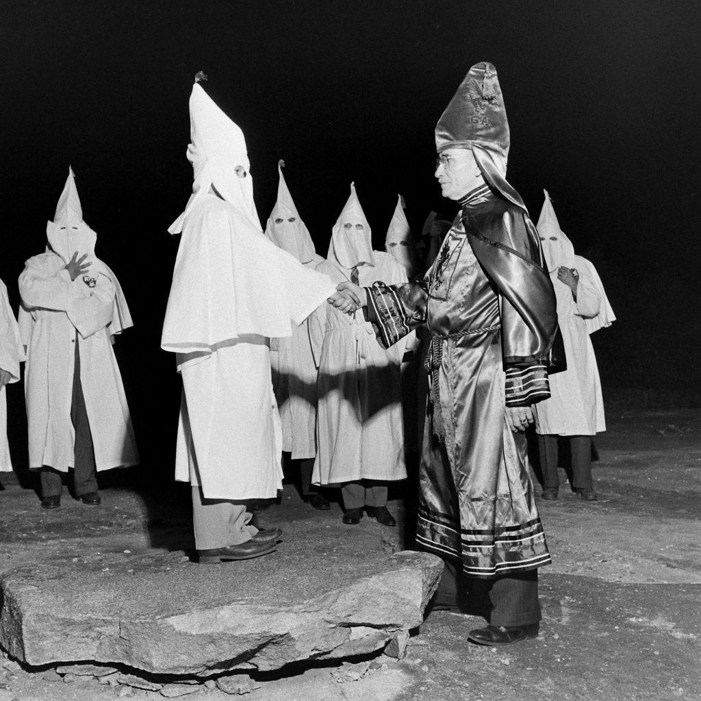 The scene at a Ku Klux Klan initiation ritual in Georgia, May 1946.