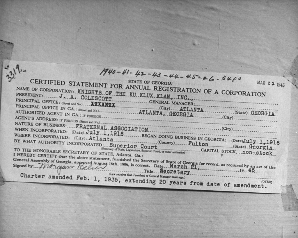 Certified Statement for Annual Registration of a Corporation for the Knights of the Ku Klux Klan, Inc., Fulton County, Ga., 1946.