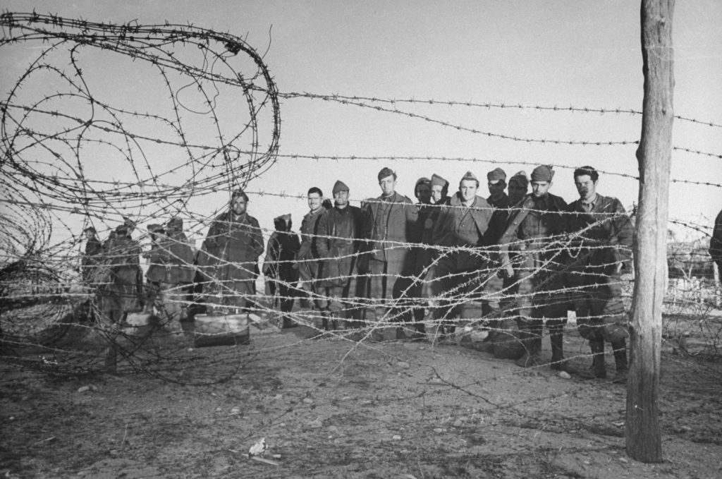 Barbed wire enclosure holds Axis prisoners taken during the Allied assault on German positions near Sened, Tunisia, 1943.