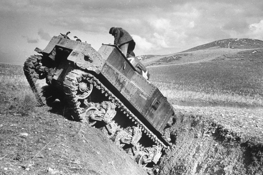 An American M3 tank disabled in Tunisia, 1943.