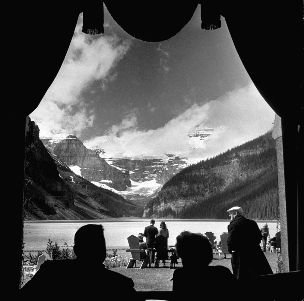 View from a lodge looking up Lake Louise at Victoria Glacier, Canada, 1946.