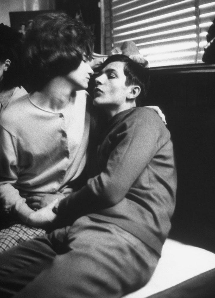 Couple embracing at Golfe Drouot dance hall, Paris, 1963.