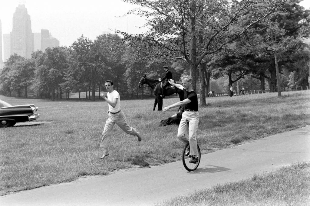 Unicyclist in Central Park, 1961.