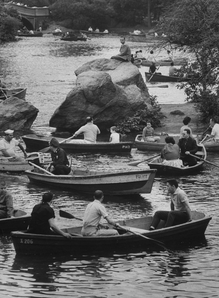 Rowers on the Lake in Central Park, 1961.