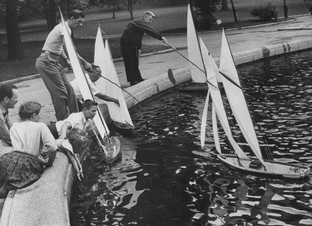 Model sailboats in Conservatory Pond, Central Park, 1961.