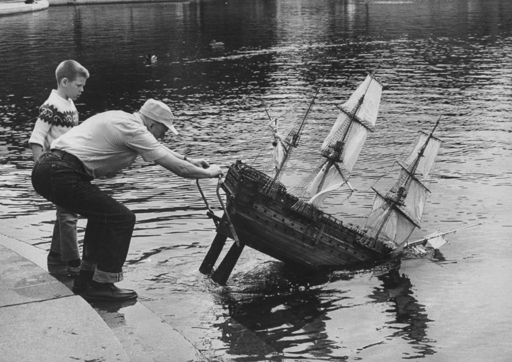 Nelson's flagship 'Victory' gets a tender launching by its builder, Arthur Langton.