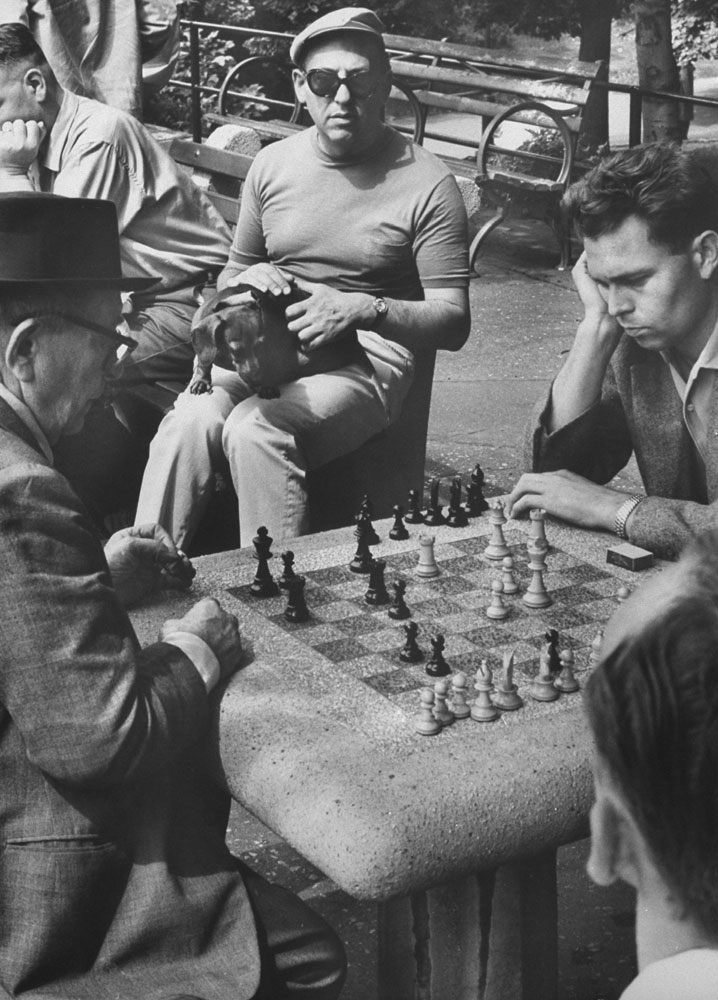 Chess players, Central Park, 1961.