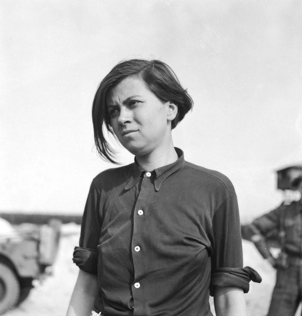 Annaliese Kohlmann, former Nazi female guard noted for her cruelty, Bergen-Belsen, 1944.