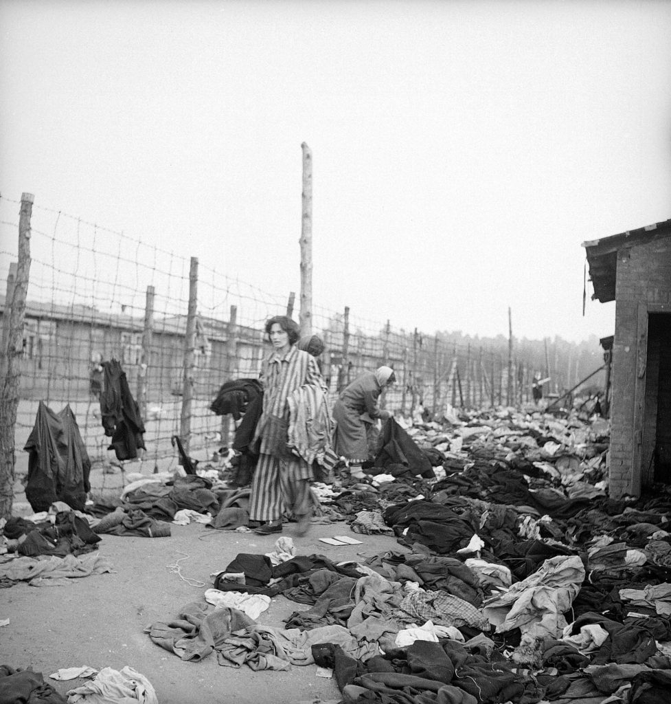Prisoners at the newly liberated Bergen-Belsen, 1945.