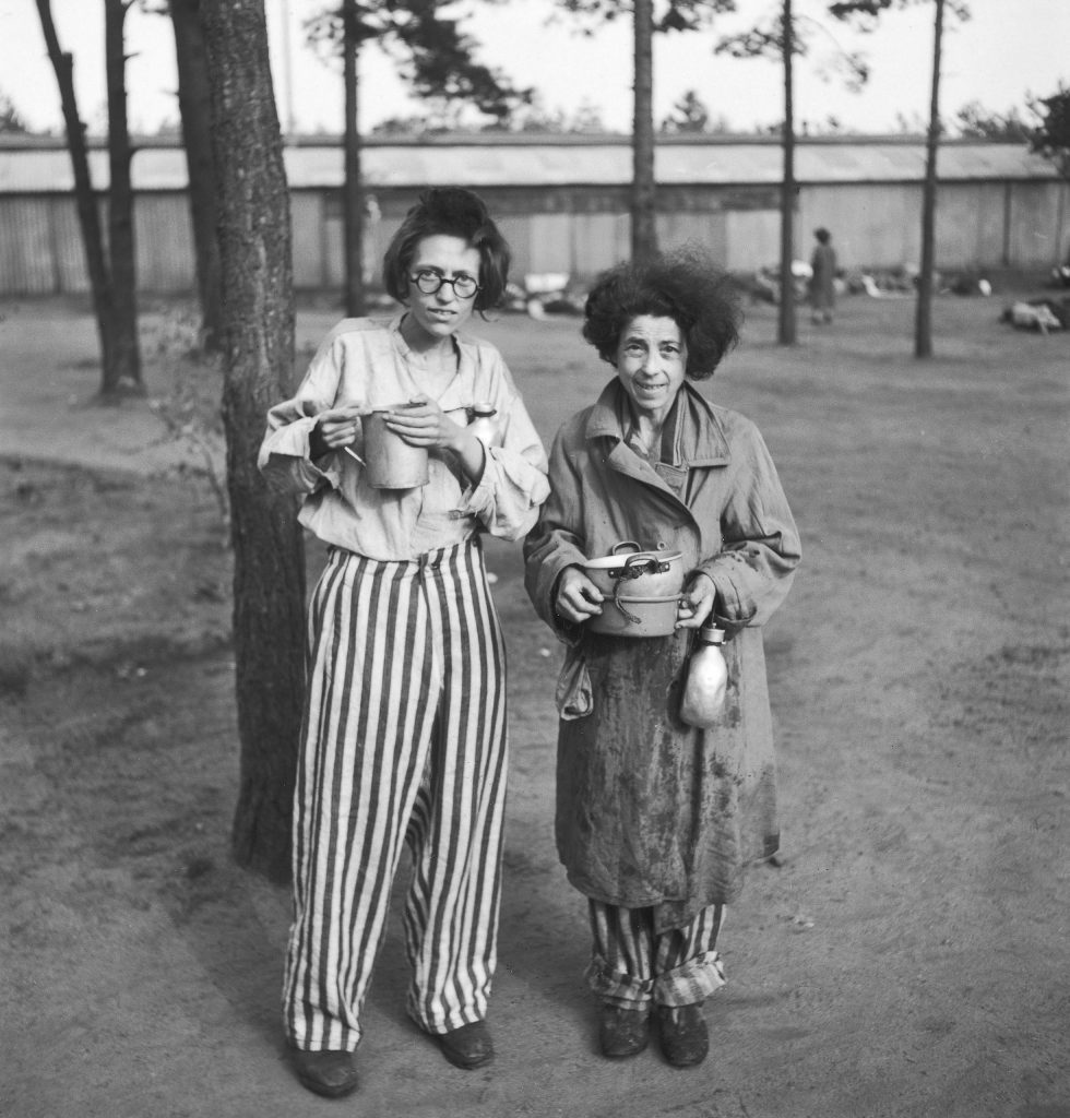 Female prisoners in the newly liberated Bergen-Belsen concentration camp, 1945.