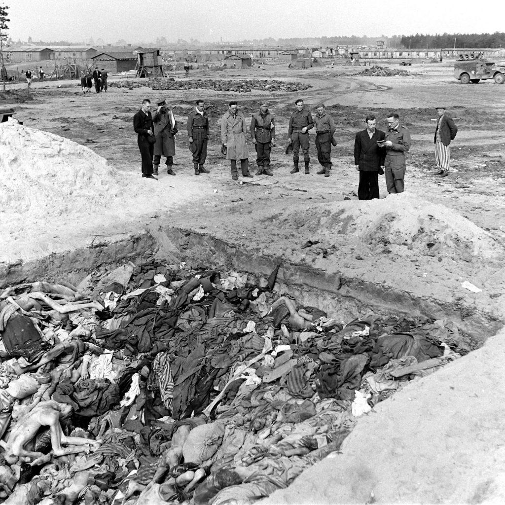 Scene at Bergen-Belsen, 1945.
