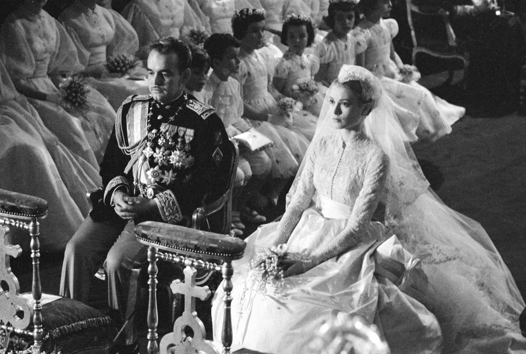 Grace Kelly and Prince Rainier wed, St. Nicholas Cathedral, Monaco, April 19, 1956.