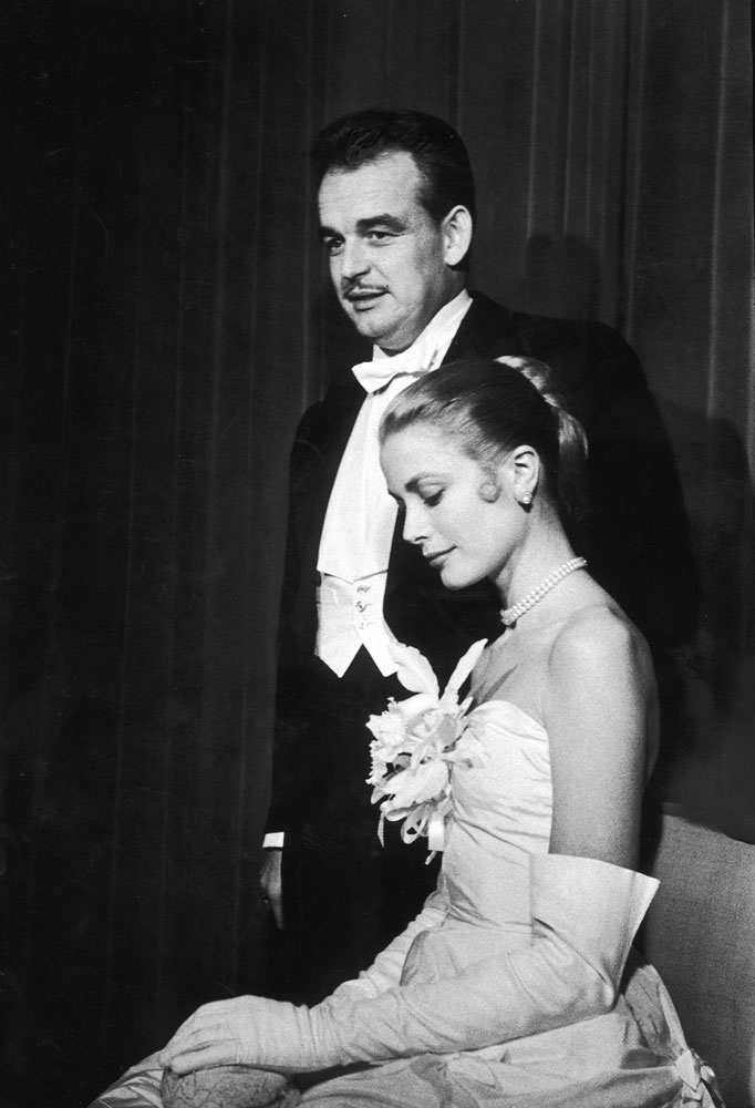 Grace Kelly and Prince Rainier at the Waldorf-Astoria Hotel in New York, the day after announcing their engagement, January 1956.