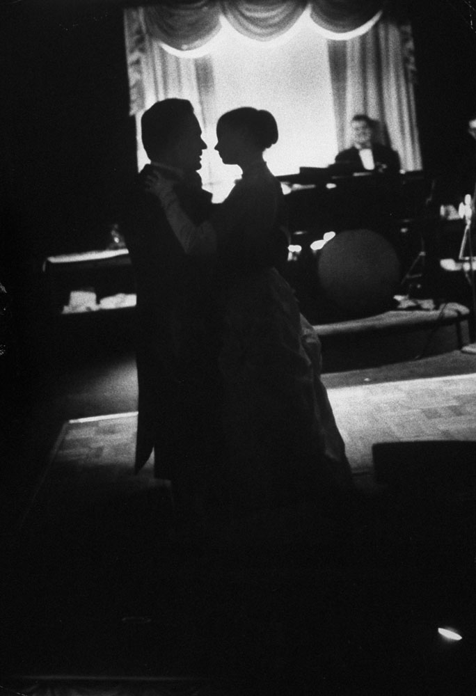 Grace Kelly and Prince Rainier dance not long after announcing their engagement, 1956.