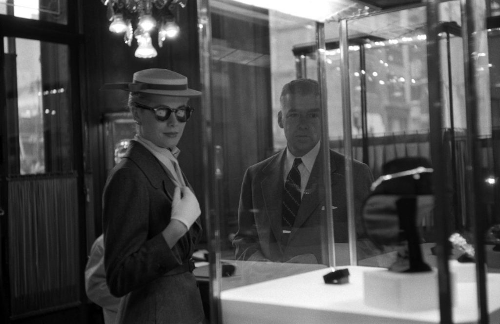 Grace Kelly inside a New York jewelry store, where she perused possible gifts for her groom.