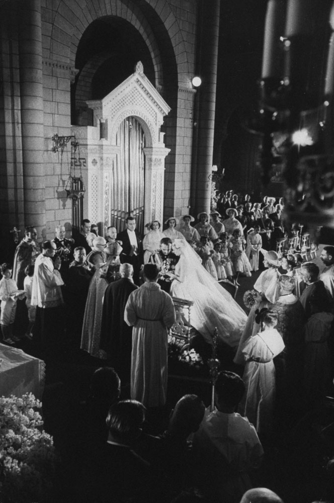 Wedding ceremony of Prince Rainier III of Monaco to Grace Kelly, April 1956.
