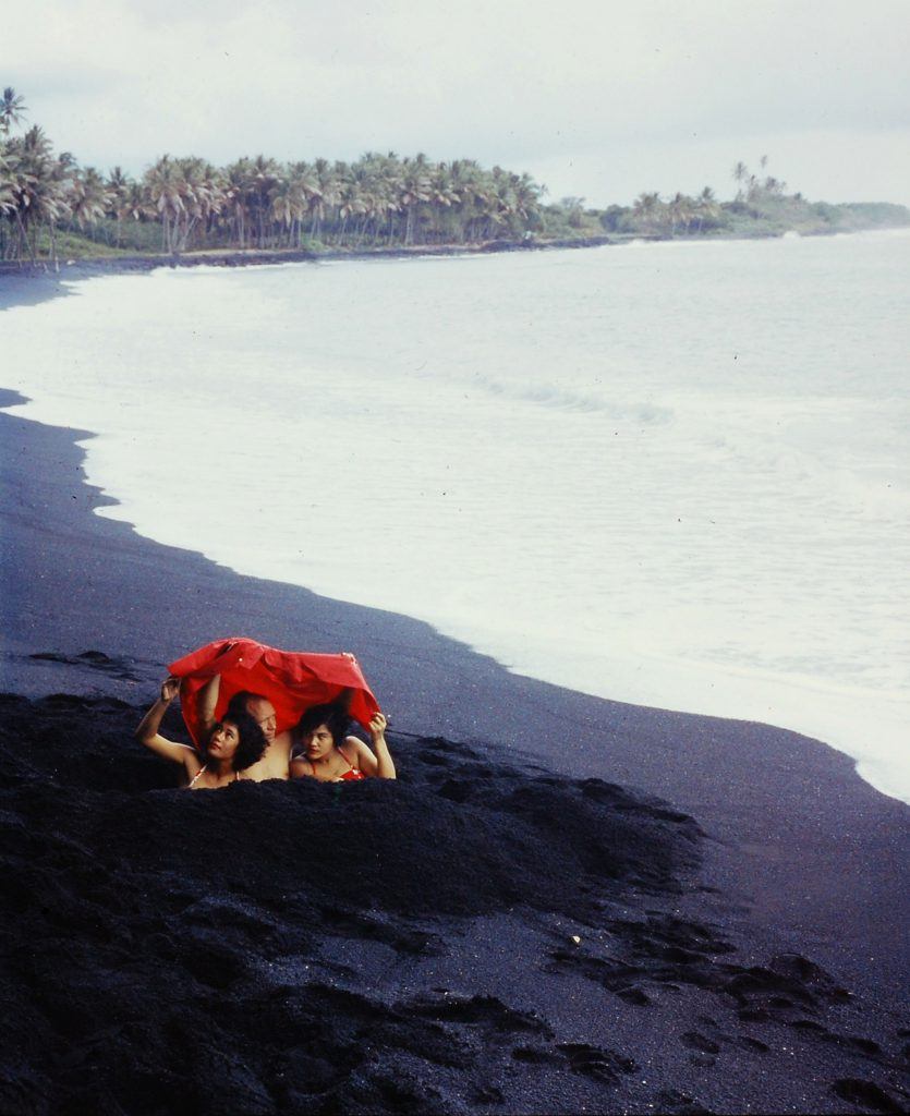 Black-sand beach, made by waves battering volcanic rock, on the Big Island, Hawaii, 1959.