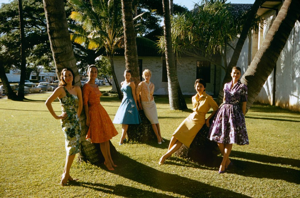 Hawaiian women pose, 1959.