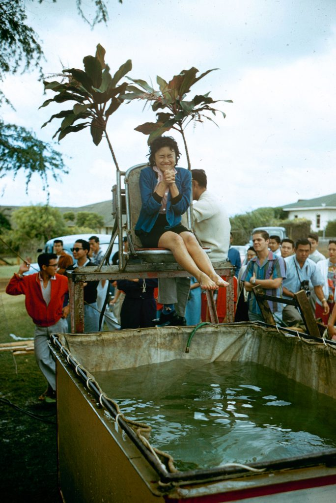 Dunking pool at a Hawaii fair, 1959.